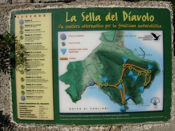 pannello del sentiero naturalistico e archeologico della Sella del Diavolo
