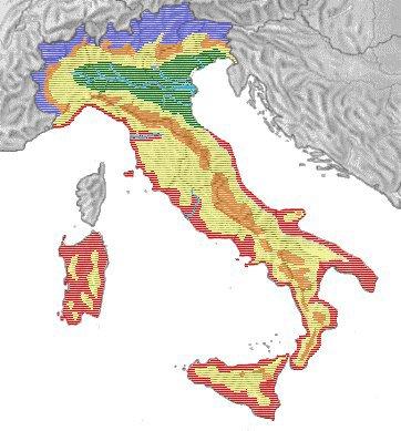 Italia, differente tipologia boschiva