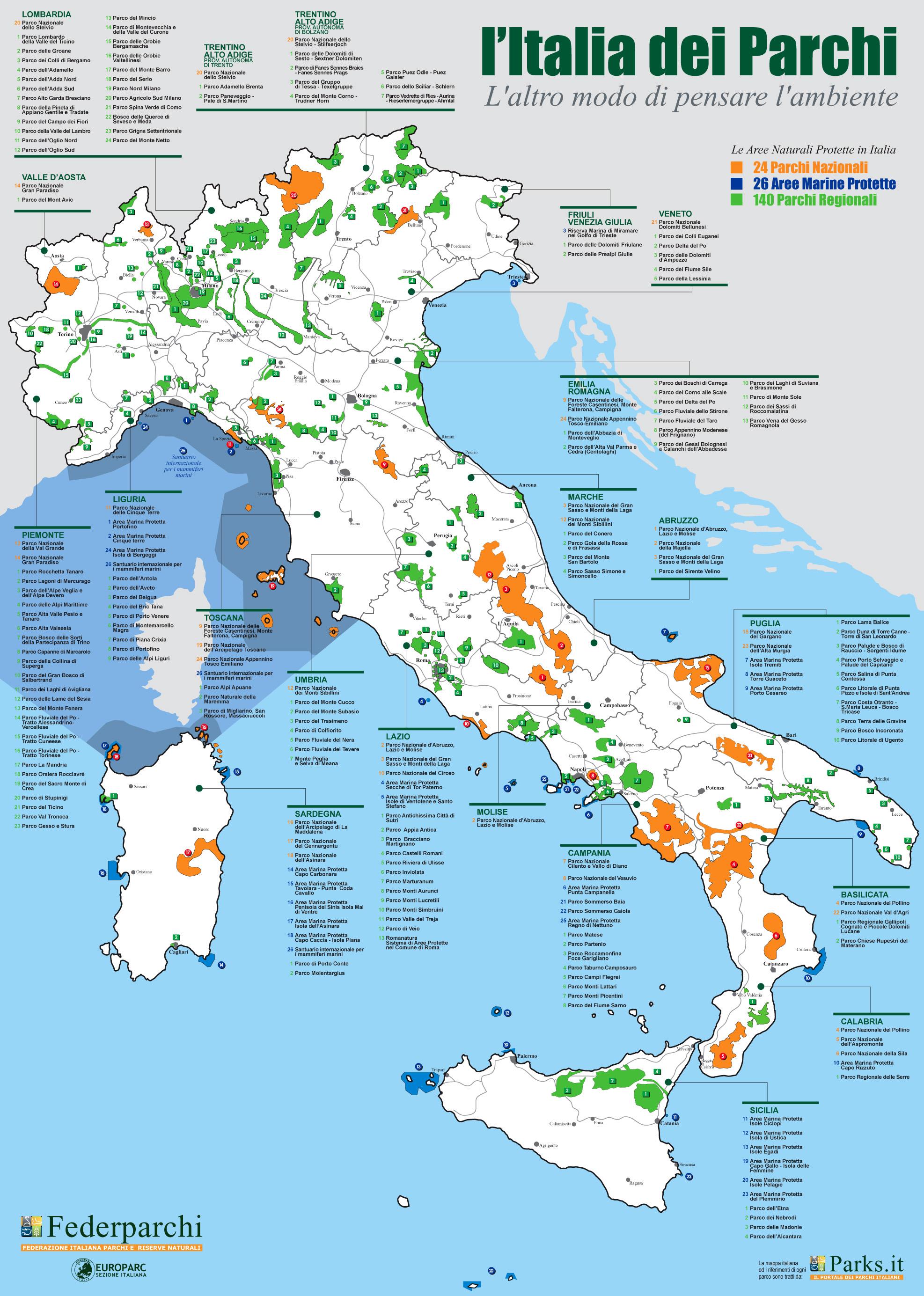 carta delle Aree naturali protette in Italia