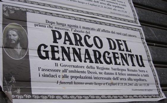 Parco del Gennargentu, manifesto listato a lutto