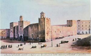 Sassari, Castello aragonese (acquarello di Simone Manca di Mores, fine '800)