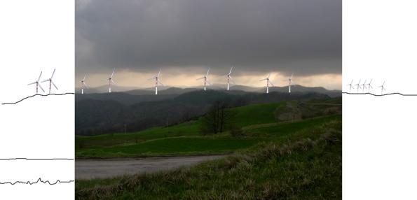 Appennino Umbro-Marchigiano, Monte Macinara e Monte dei Sospiri con simulazione impatto centrali eoliche