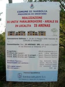 """Narbolia, Is Arenas, cartello """"inizio lavori"""""""