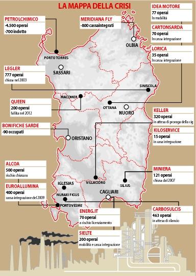 crisi industriale in Sardegna (da La Nuova Sardegna, sett. 2012)