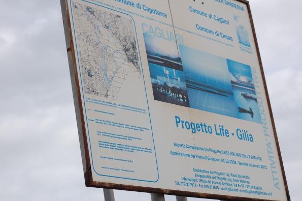 """Cagliari, Stagno di Capoterra, cartello progetto LIFE Natura """"Gilia"""""""