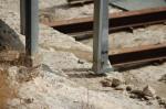 Cagliari, Anfiteatro romano, particolare dei plinti infissi sulmonumento