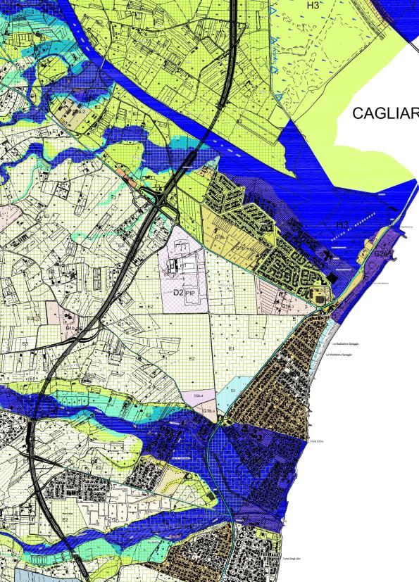 P.U.C. di Capoterra, particolare della tavola n. 5 (zonizzazione territoriale con pericolosità idraulica), 2012