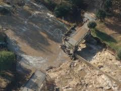 Capoterra, Poggio dei Pini, ponte travolto dall'alluvione (2008)