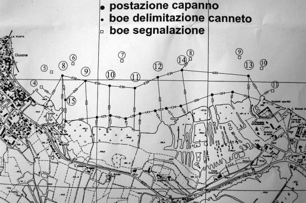 Lago d'Iseo, posizionamento dei capanni di caccia autorizzati (2012)