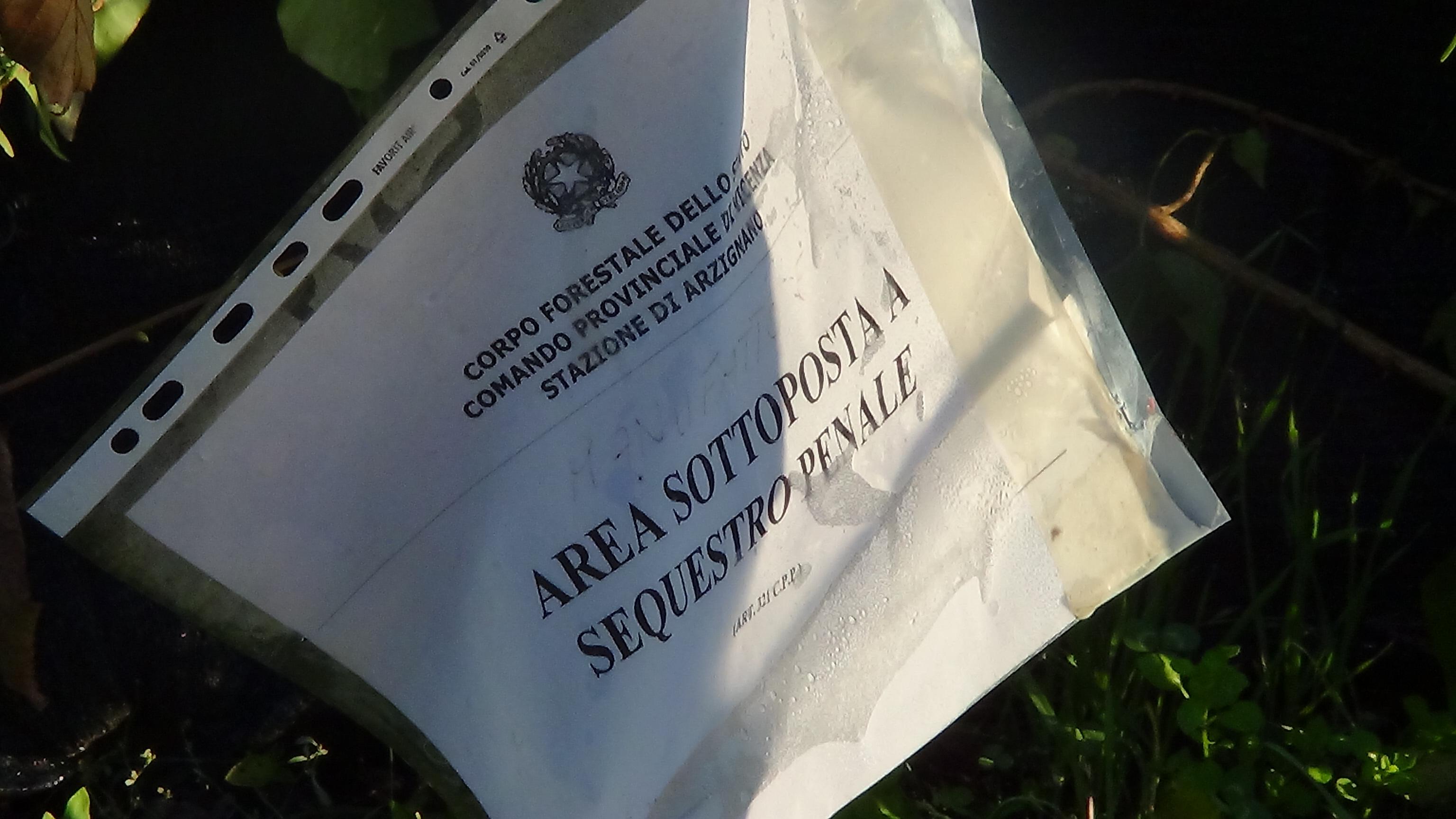 Arzignano, cartello di sequestro penale di un capanno di caccia
