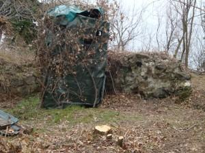 S. Luca, capanno di caccia con alberi tagliati per migliorare il campo di tiro