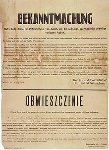 manifesto nazista in tedesco e polacco, che minacciava di morte i polacchi che avessero aiutato gli ebrei