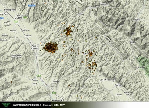 sciame sismico area Città di Castello (aggiornamento al 12 maggio 2013)