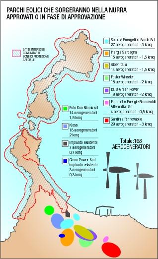 Sardegna, progetti di centrali eoliche nella Nurra (2013)