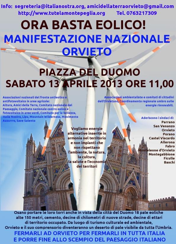 manifestazione contro speculazione eolica Orvieto