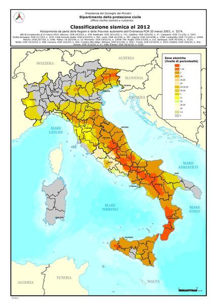 Presidenza Consiglio Ministri, Dipartimento protezione civile, rischio sismico in Italia (2012)