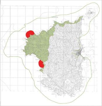 Isola di S. Pietro, Z.P.S. (in verde e rosso) e S.I.C. (i confini sono indicati con la linea verde)