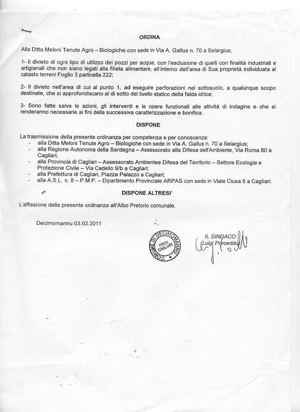 ordinanza Sindaco Decimomannu n. 3 del 4 febbraio 2011
