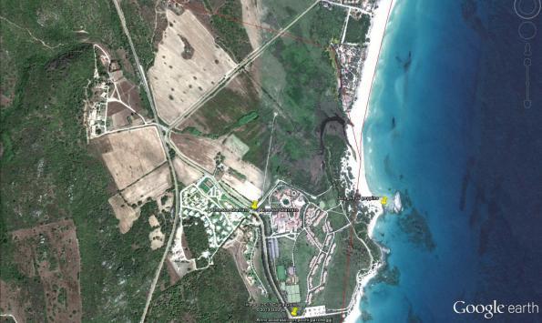 Castiadas, chiusura della viabilità di accesso alla spiaggia dello Scoglio di Peppino (da Google Earth)