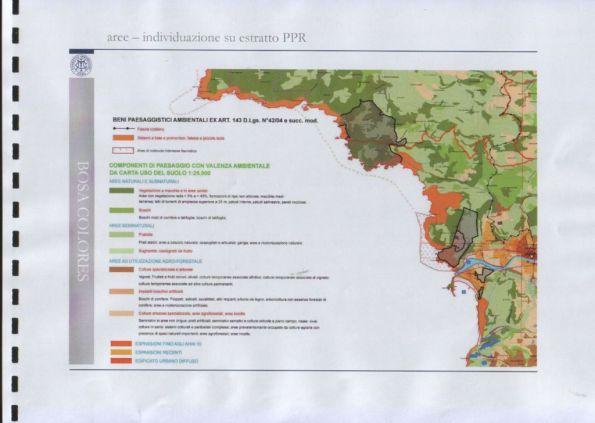 """Bosa, ubicazione del progetto """"Bosa Colores"""" (in nero) sovrapposta alla disciplina del piano paesaggistico regionale"""