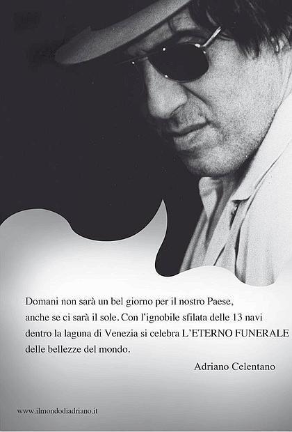 messaggio di Adriano Celentano (Il Corriere della Sera, 20 settembre 2013)