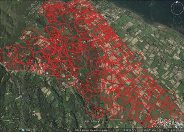 S. Antioco, località Su Pranu, indicazione con cerchi rossi delle fasce di rispetto di legge da residenze, luoghi di lavoro, strade (2013)