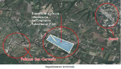 Banzi, inquadramento dell'area interessata dal progetto di centrale solare termodinamica
