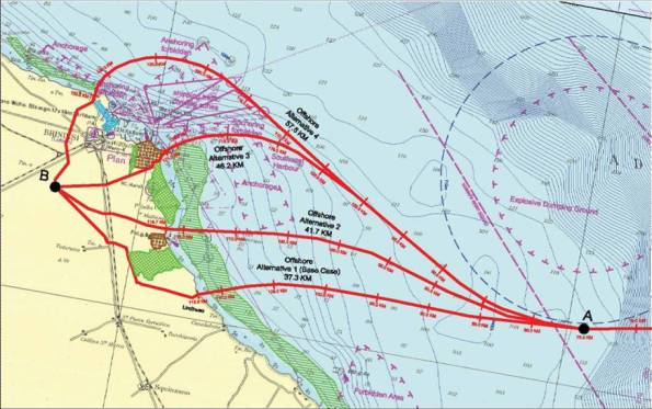 Puglia, Brindisi, le quattro ipotesi di approdo sulla terraferma del gasdotto T.A.P.