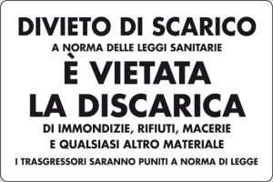 cartello divieto di discarica