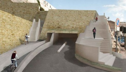 Cagliari, progetto parcheggio Via del Cammino Nuovo, rendering ingresso