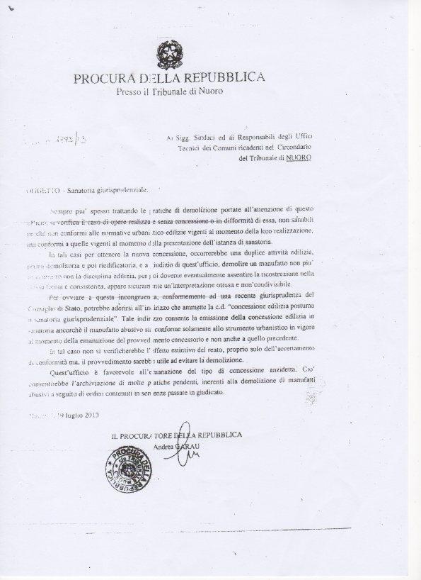 nota Procura Nuoro prot. n. 1995/13 del 29 luglio 2013