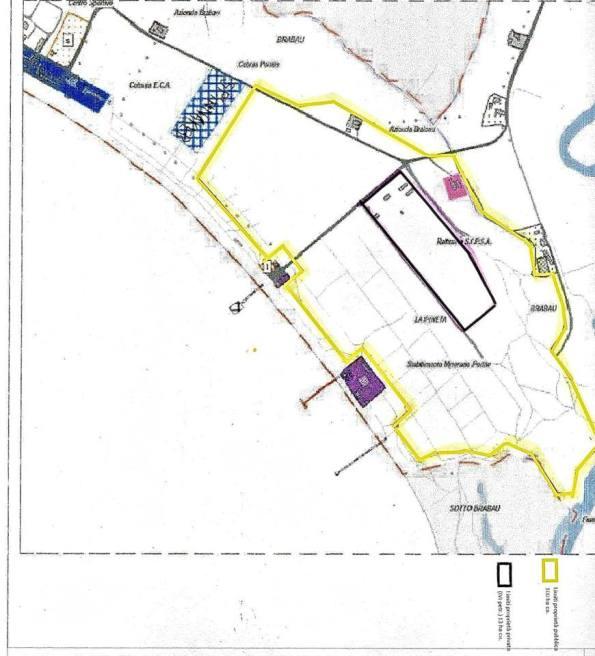 Oristano, Torregrande, planimetria delle proprietà delle aree del proposto intervento immobiliare: in GIALLO i confini delle aree pubbliche, in NERO quelle di proprietà privata