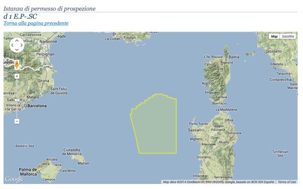 Mar di Sardegna, area del progetto Schlumberger Italiana s.p.a.  di prospezione per idrocarburi