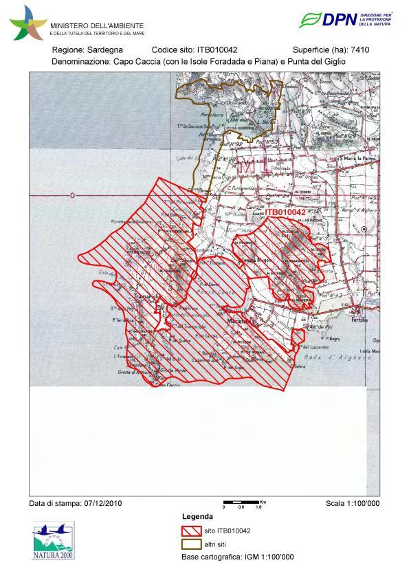 """sito di importanza comunitaria - SIC """"Capo Caccia (con le Isole Foradada e Piana) e Punta del Giglio"""""""