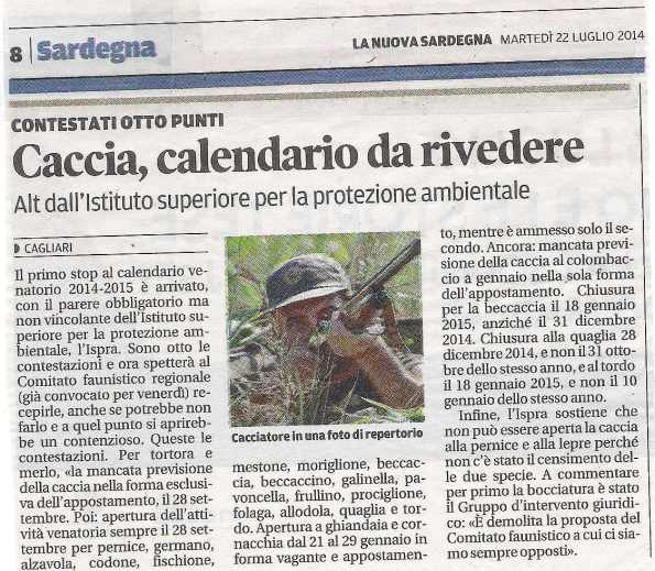 La Nuova Sardegna, 22 luglio 2014