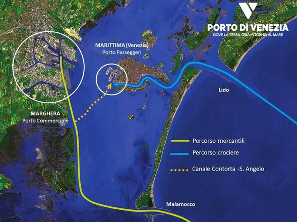 """Venezia e Laguna Veneta, accesso """"grandi navi"""" e ipotesi Canale Contorta - S. Angelo"""