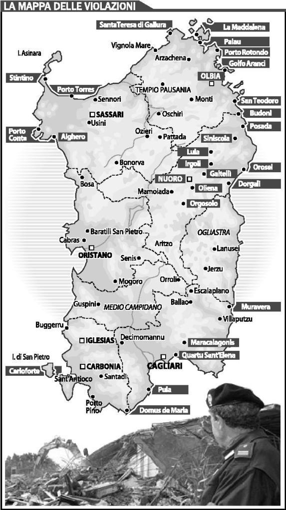 Sardegna, abusivismo edilizio (da La Nuova Sardegna, 2008)