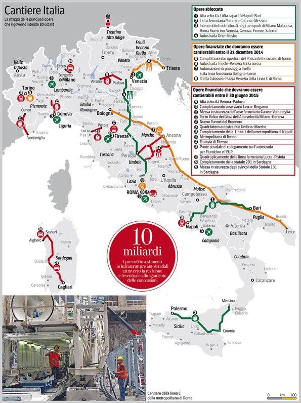 """decreto-legge """"Sblocca Italia"""", mappa delle opere pubbliche cantierabili (da Il Corriere della Sera)"""