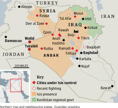 Medio Oriente, territori controllati dall'I.S.I.S., area del governo autonomo Kurdo, luoghi di scontro e contesi