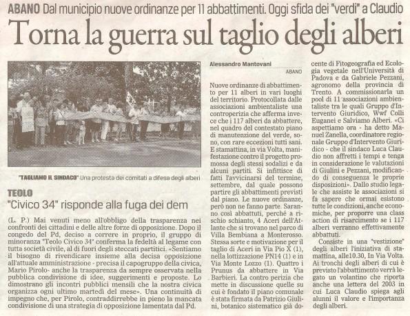 Il Gazzettino di Padova, 30 agosto 2014