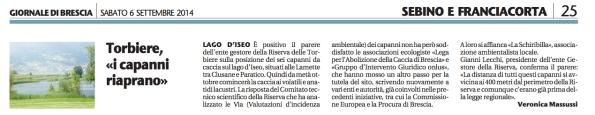 Il Giornale di Brescia, 6 settembre 2014
