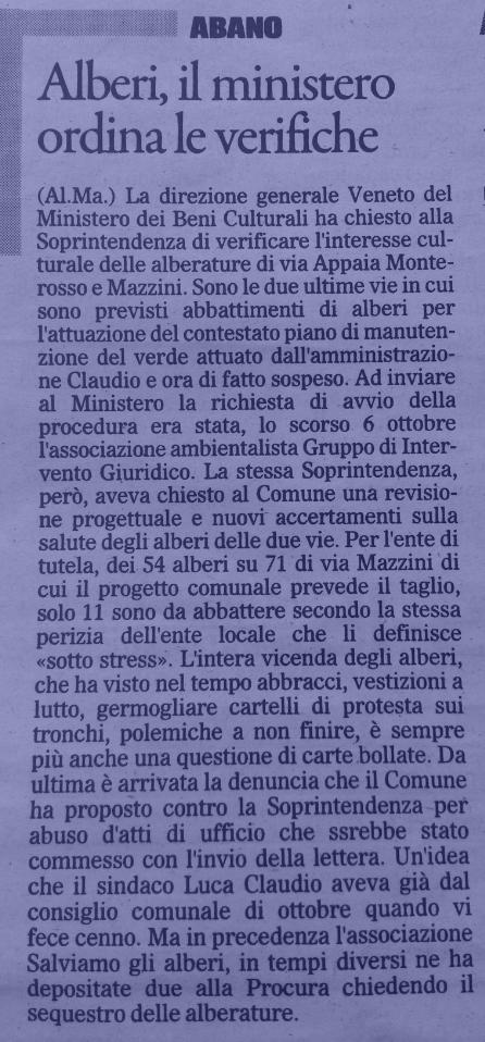Il Gazzettino di Padova, 15 novembre 2014