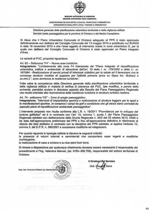 nota Servizio regionale Tutela paesaggistica per le Province di Oristano e del Medio Campidano prot. n. 32806 del 23 luglio 2014 (pagina 2)