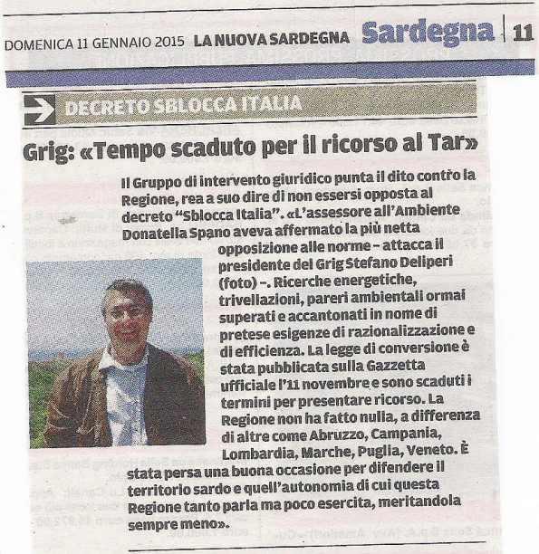 La Nuova Sardegna, 11 gennaio 2015