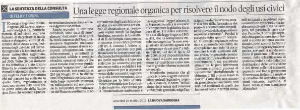 La Nuova Sardegna, 24 marzo 2015