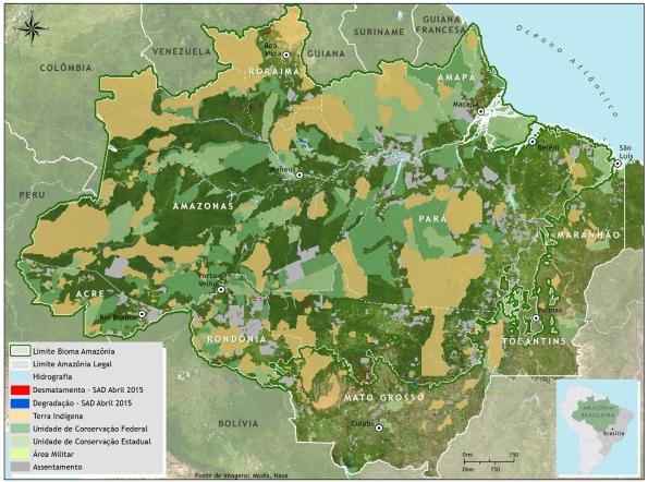 Brasile, foreste tropicali, stato di conservazione e di deforestazione (aprile 2015, da Imazon)