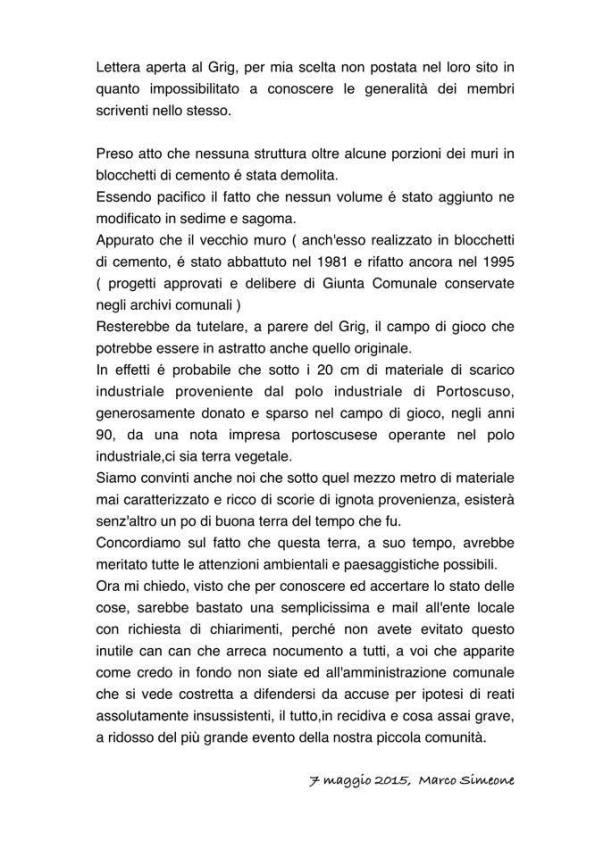 lettera Sindaco Simeone a Grig
