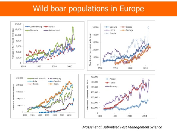 "da ""Wild boar populations up, numbers of hunters down? A review of trends and implications for Europe."""