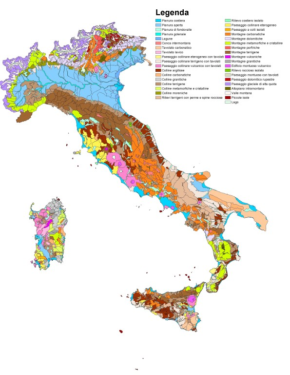Italia, tipologie di paesaggio (cartografia I.S.P.R.A.)