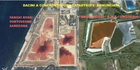 confronto fra bacino dei c.d. fanghi rossi di Portoscuso e l'analogo bacino di Ajka, in Ungheria, dove nel 2010 s è verificato un disastro ambientale